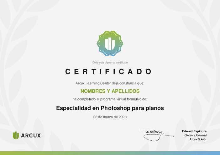 Certificado del curso Especialidad en Photoshop para planos