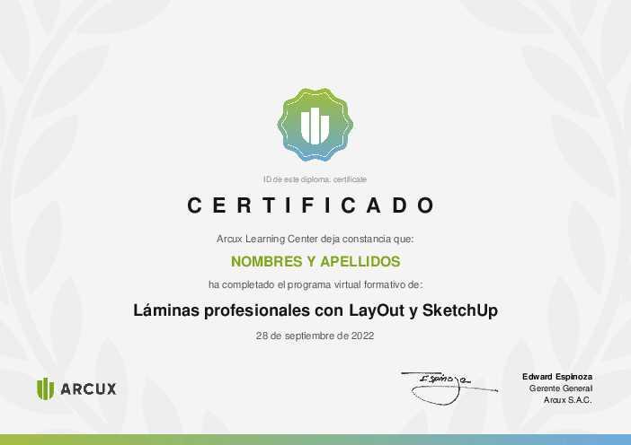 Certificado del curso Láminas profesionales con LayOut y SketchUp