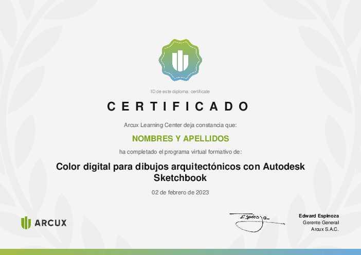 Certificado del curso Color digital para dibujos arquitectónicos