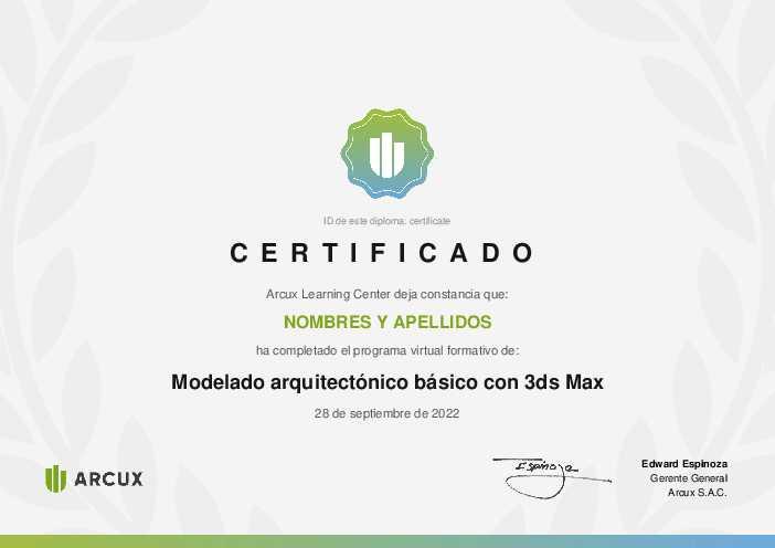 Certificado del curso Modelado arquitectónico básico con 3ds Max