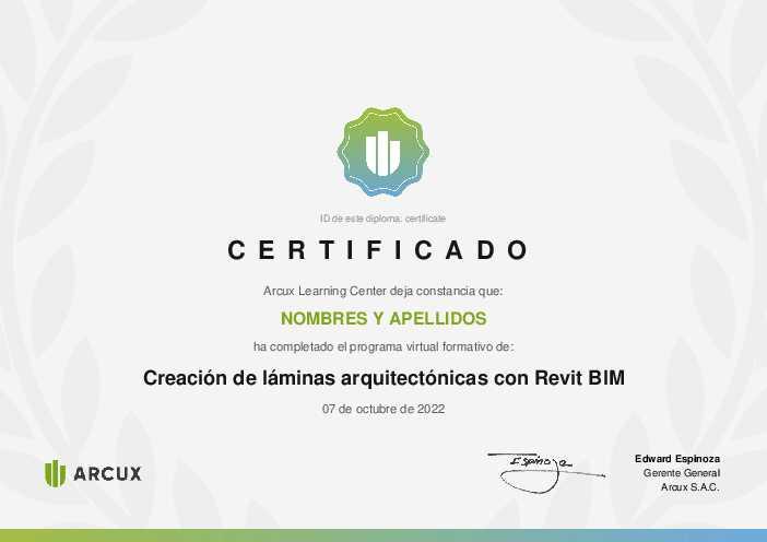 Certificado del curso Creación de láminas arquitectónicas con Revit BIM